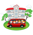Students riding on red van to school vector image vector image