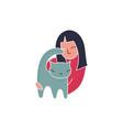 trendy cartoon woman holding cat simple vector image vector image