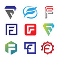 unique letter f creative logo set vector image vector image