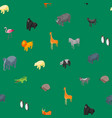 wild animals 3d seamless pattern background vector image vector image