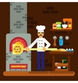 Cook baker cooking pizza icon bakery background vector image