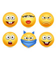 smiley face icons funny faces 3d realistic set vector image