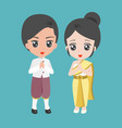 male and female dress in thai traditional costume vector image