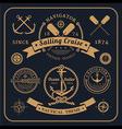 Vintage nautical labels set on dark bcakground vector image