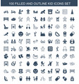 100 kid icons vector image vector image