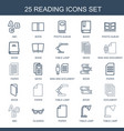 25 reading icons vector image vector image