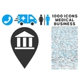 Bank Building Pin Icon with 1000 Medical Business vector image vector image