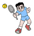 boy tennis vector image