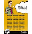 business motivation 2019 year calendar poster vector image