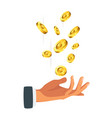 businessman hand holding money vector image vector image