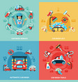 car wash compositions set vector image vector image
