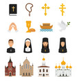 christian icons christianity religion signs vector image