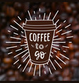 coffee to go on blurred unfocused background with vector image