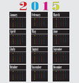 colorful calendar for 2015 starts sunday2 01 vector image vector image