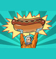 cosmonaut and hot dog fast food vector image