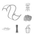 country united arab emirates outline icons in set vector image