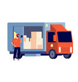 courier smiling guy with package delivery lorry vector image