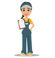 courier woman holding blank clipboard vector image