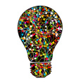 Creative light bulb with colorful network on white vector image vector image