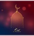 creative mosque design for eid mubarak festival vector image