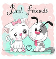 cute cat and dog on a pink background vector image vector image