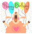 Cute happy birthday card with funny lamb vector image vector image