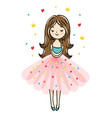 cute little girl is cuddeling yourself vector image