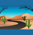 desert land with road vector image vector image