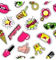 Elements For Girls Comic Style Pattern vector image vector image