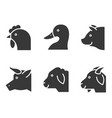 farm animal solid style icon vector image vector image