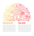 food delivery line template vector image