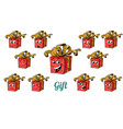 gift box emotions emoticons set isolated on white vector image vector image