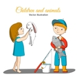 Girl with rabbit and boy with fish vector image vector image