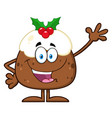 happy christmas pudding cartoon character vector image vector image