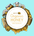 honey waxing bee and beehive flyer poster organic vector image vector image
