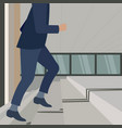 image of confident businessman walking upstairs vector image
