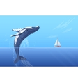 Jump humpback big huge whale near small boat ship vector image vector image