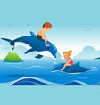 little kids swimming with dolphins in the ocean vector image