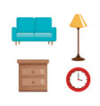 living room set icons vector image vector image