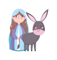 mary and donkey manger nativity merry christmas vector image vector image