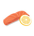 meat - red fish salmon steak with lemon vector image vector image
