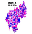 mosaic tripura state map of square elements vector image vector image