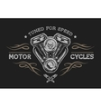 Motorcycle engine in vintage style vector image vector image