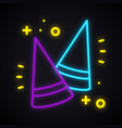 neon party cone hat sign glowing birthday cap vector image vector image