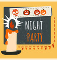 night party on halloween lit candle and pumpkins vector image