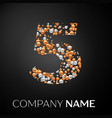number five logo gold-silver dots vector image