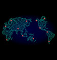 polygonal carcass mesh map of earth with red light vector image