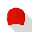 red front baseball cap icon flat style vector image vector image