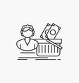 salary shopping basket shopping female line icon vector image vector image