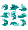 set of different sea waves with foam high vector image vector image